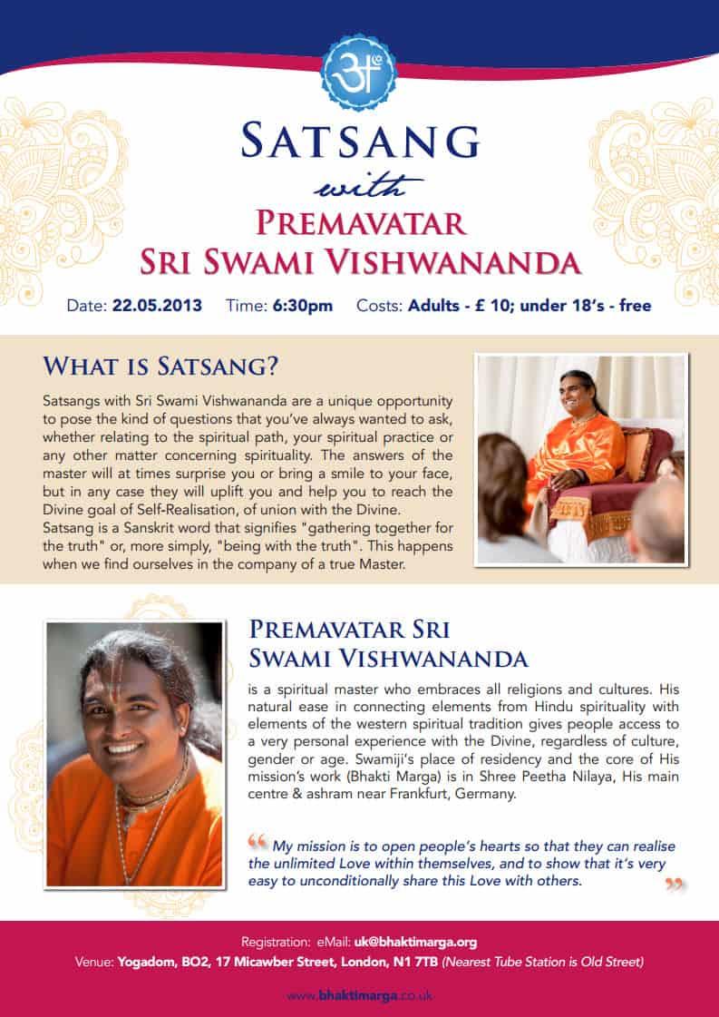 Satsang with Swami Vishwananda in London, UK