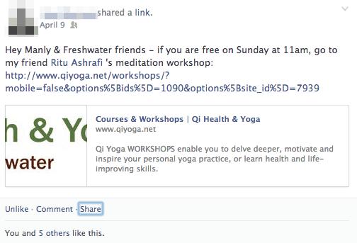 facebook promotion meditation
