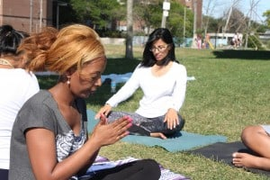 Meditation and yoga in the park - om chanting 2