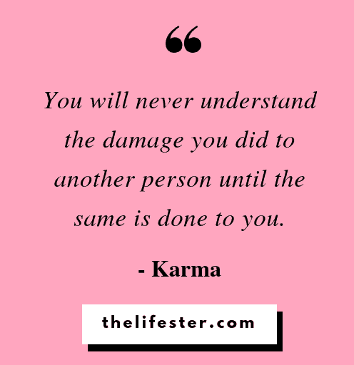 You will never understand the damage you did to another person until the same is done to you. - Karma quotes